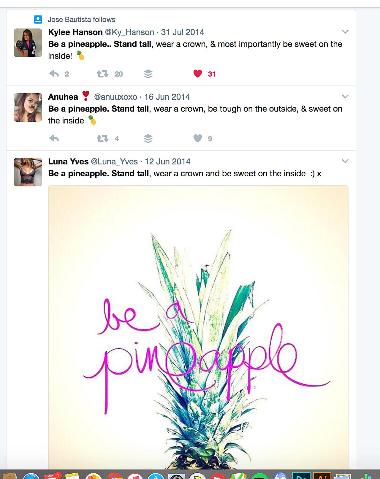 Tweet with pineapple quote not by Kat Gaskin