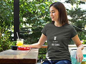 Woman in Pineapple fitted t-shirt