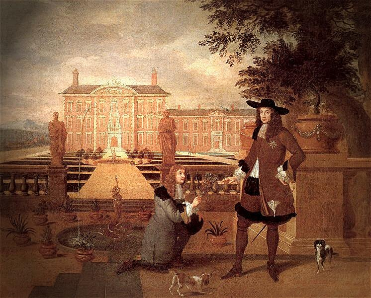 Royal Gardener John Rose and King Charles II -Hendrick Danckerts 1675