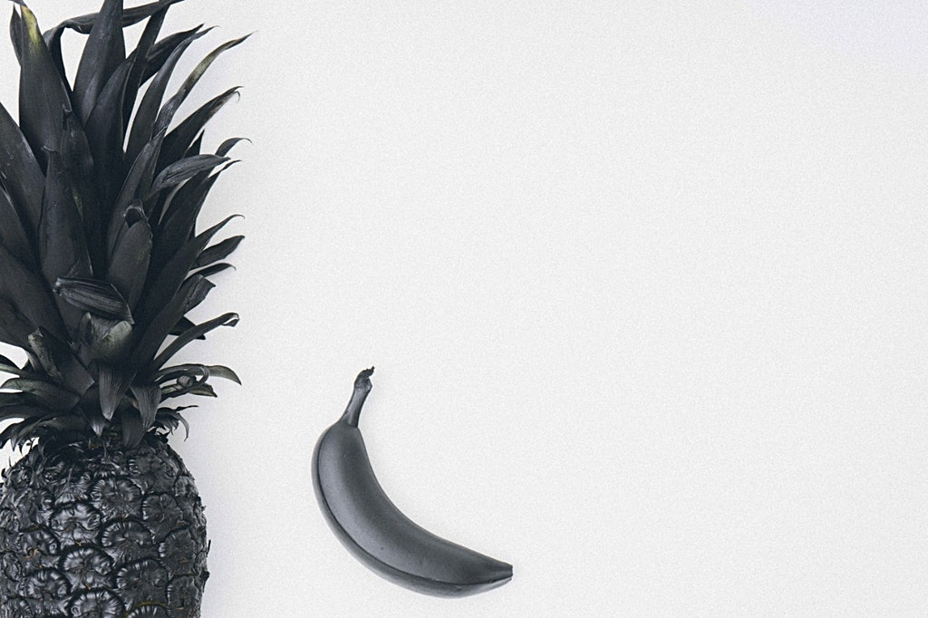 Painted Black Pineapple and Banana on White