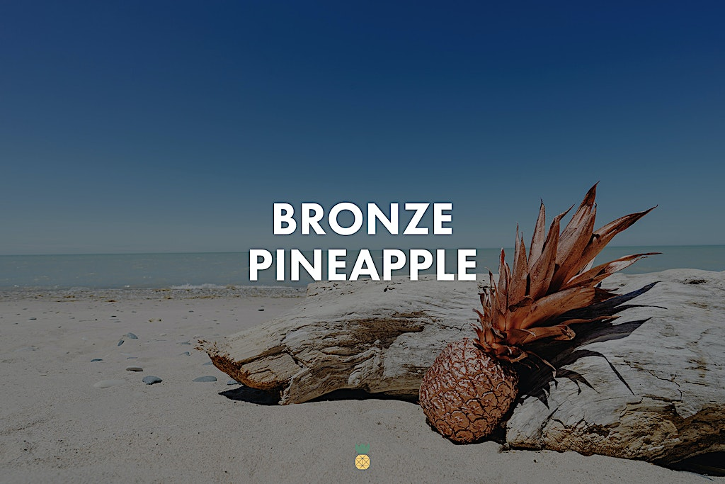 High-Resolution stock photos of Bronze pineapple at the beach in summer