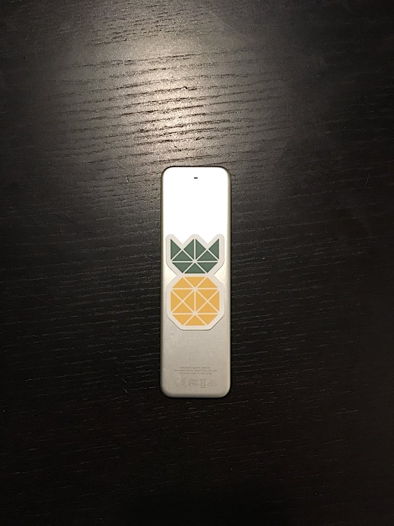 Erwan put a pineapple sticker on his Apple Remote transforming it into a Pineapple Remote