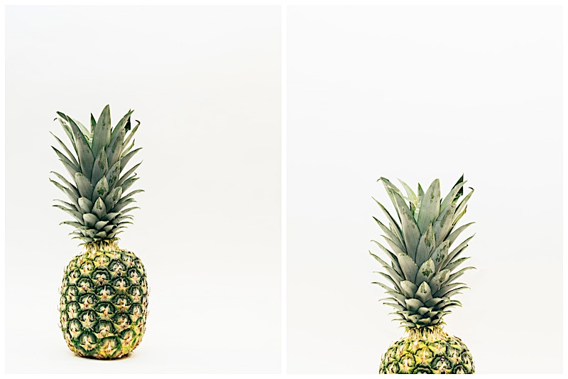 Pineapple Photos against white in the downloadable collection sample