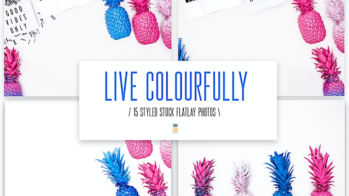 Live Colourfully Pineapple Flatlay Photo Bundle volume 1