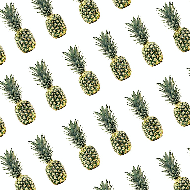 Seamless Pineapple Pattern on White