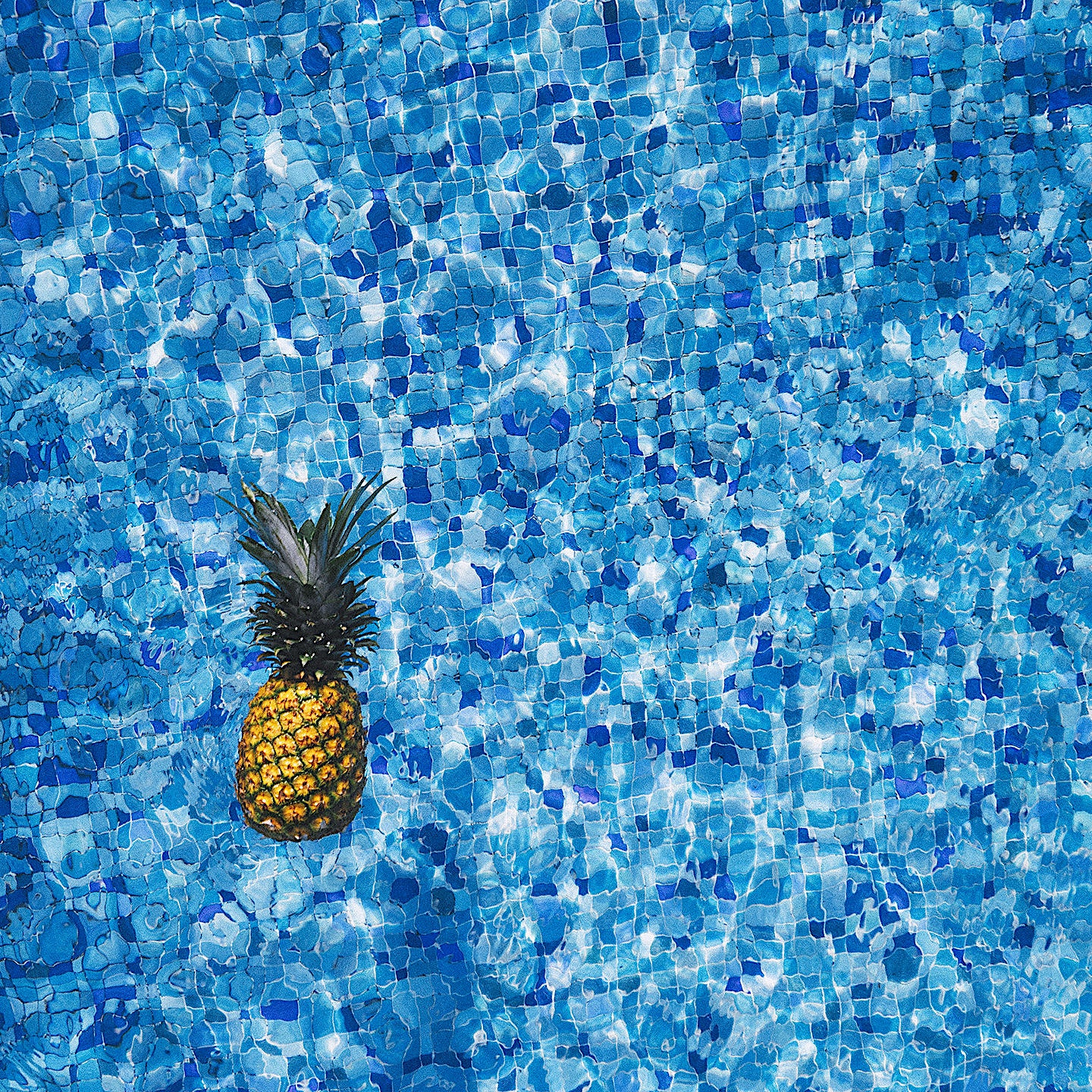 Pineapple floating in pool photo