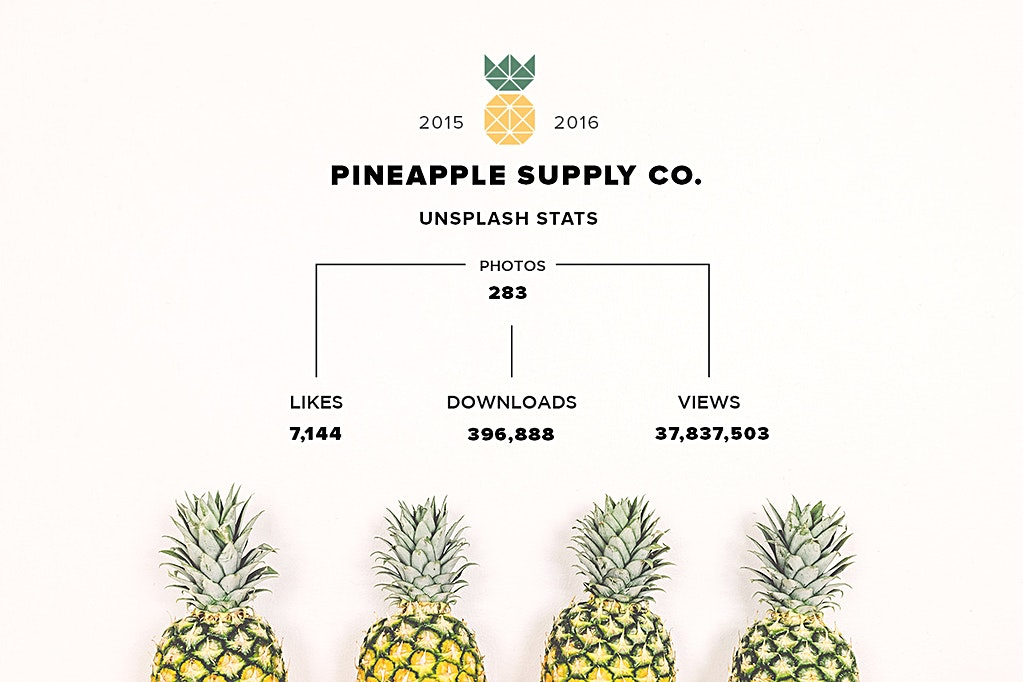 Pineapple Supply Co. photo stats from Unsplash end of 2016