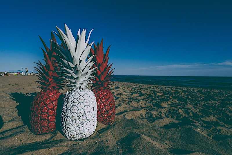 Red and White Pineapples in Sand