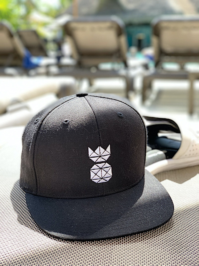 Snapback hat with pineapple logo embroidered in white while in mexico